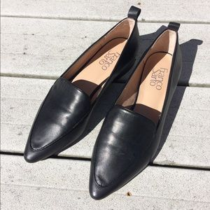 Franco Sarto black leather pointy toe loafers